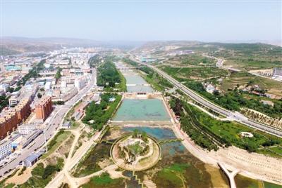 施工中的彭阳县美丽茹河建设项目