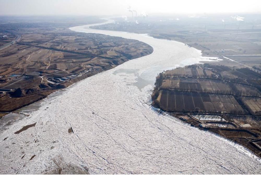黃河寧夏石嘴山段出現封河現象